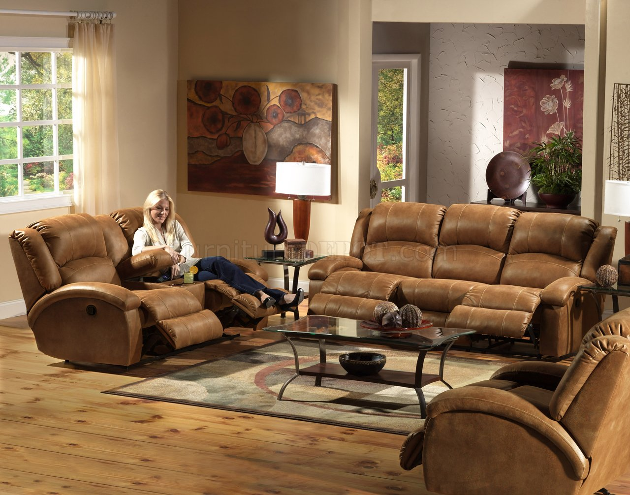 Saddle Faux Leather Dawson Reclining Sofa Amp Loveseat Set