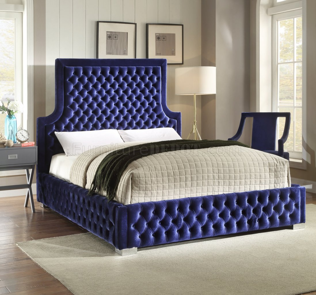Sedona Upholstered Bed In Navy Velvet Fabric W Options