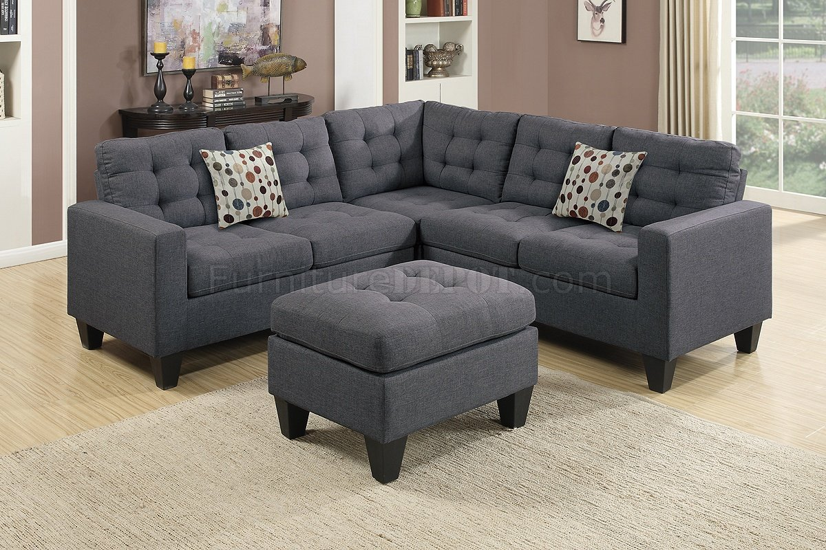 F6935 Sectional Sofa In Grey Fabric By Boss W Ottoman