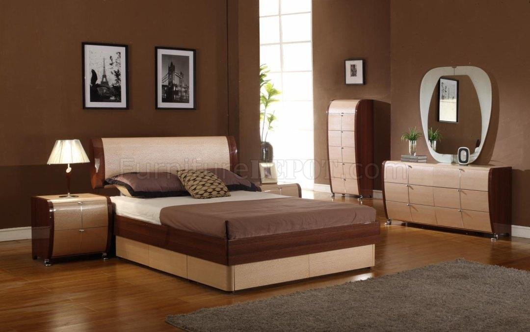 maple cherry two tonecontemporary platform bedroom set