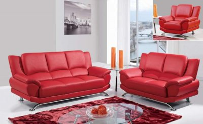 U9908 sofa in red bonded leather by global w options - Red leather living room furniture set ...