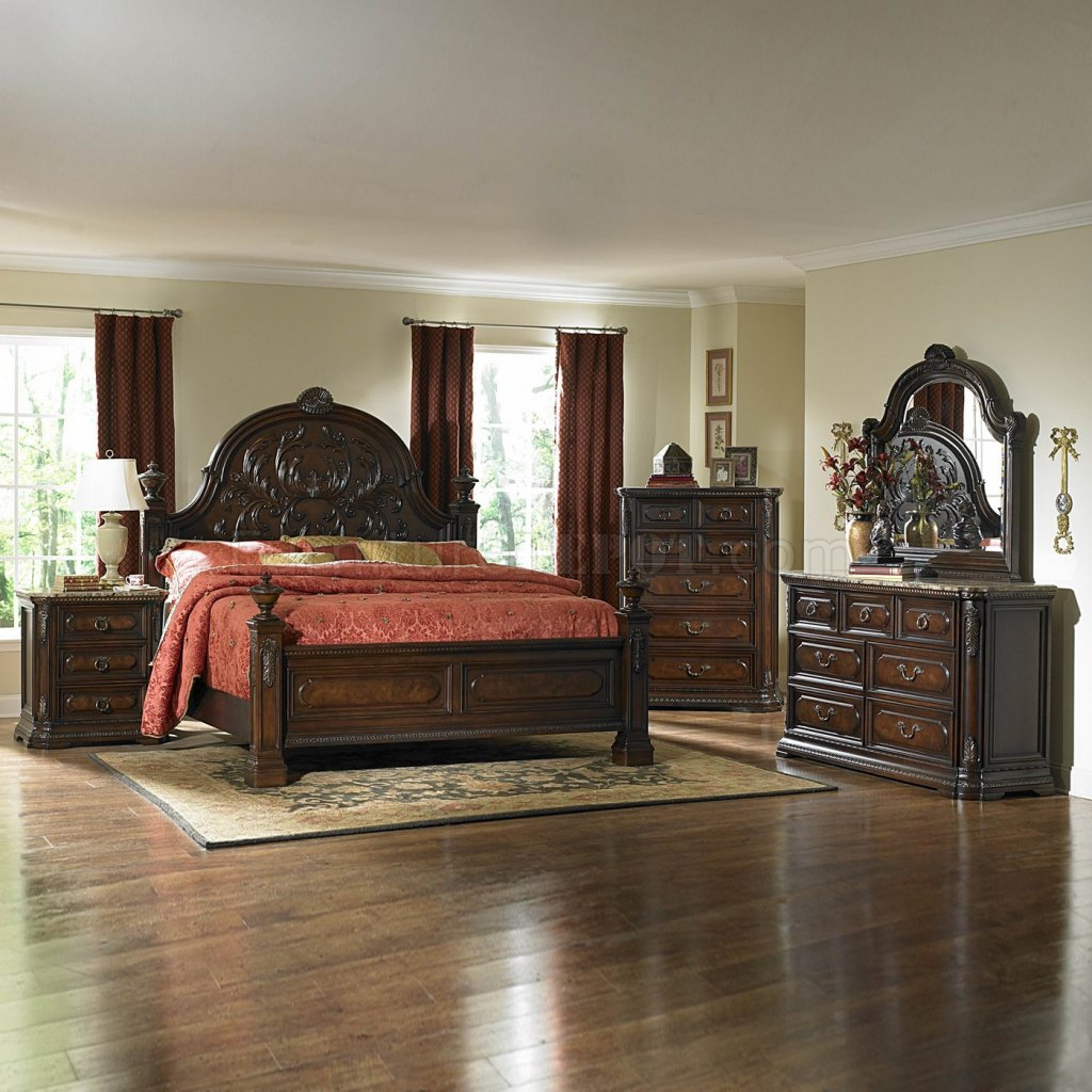 dark brown cherry traditional bedroom w optional items hebs 1464c