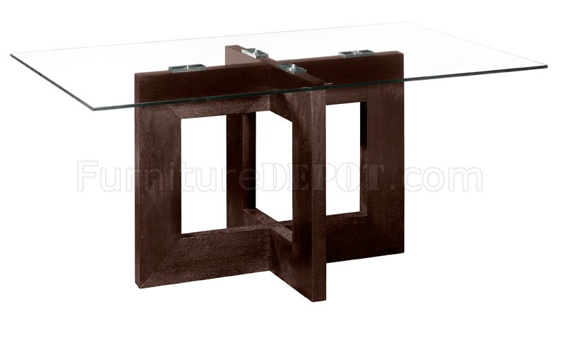 Rectangular Glass Top Modern Dining Table With Wooden Base ZDT Finn