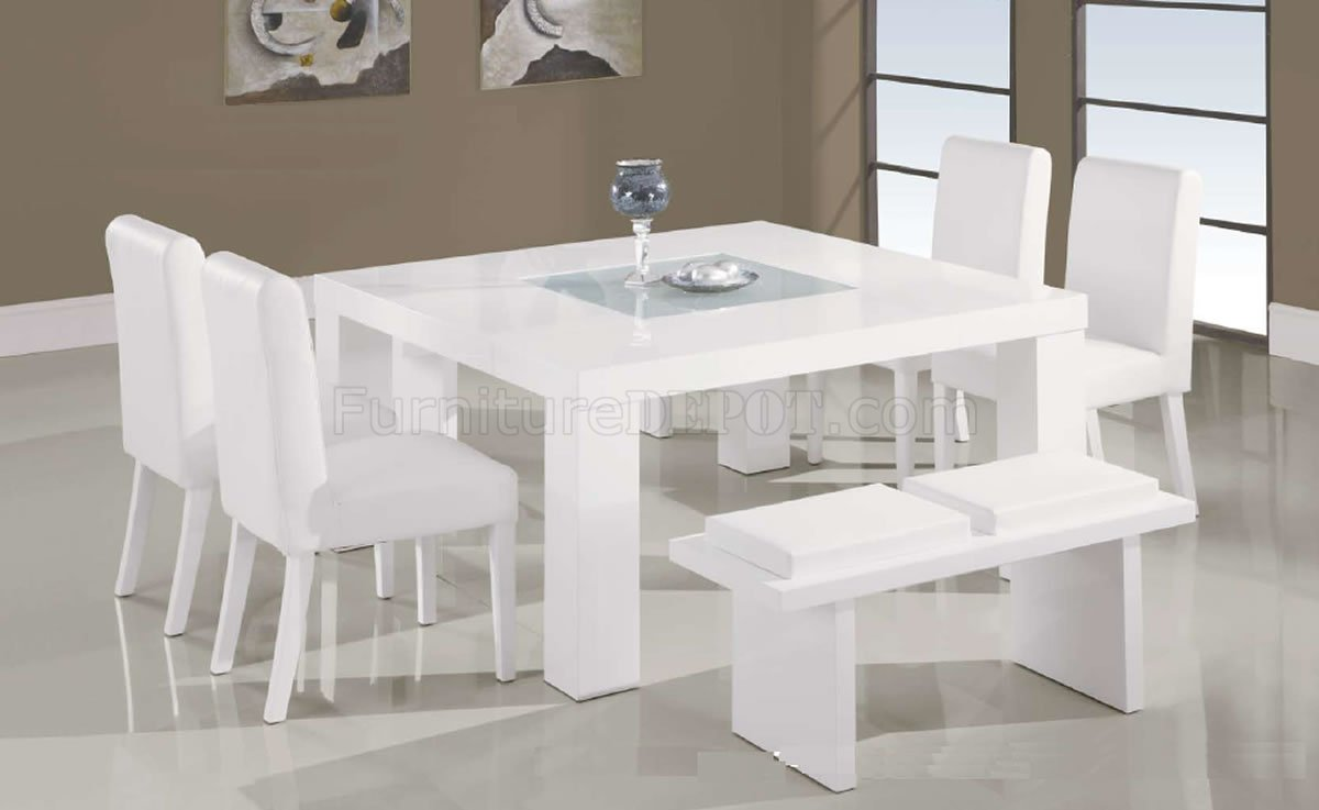 White Lacquer Finish Modern 7PC Dinette Set W Glass Inlay Table GFDS