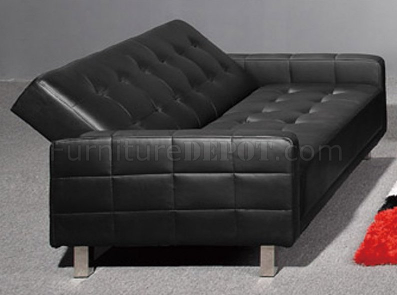 Black Tufted Leatherette Modern Living Room Wsleeper Sofa - Fina-leather-sofa-by-athomeusa