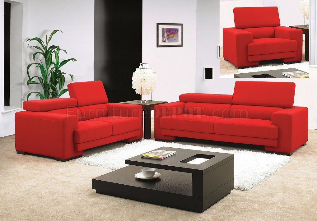 Fabric modern 3pc living room set mb0909 red for Modern living room sets