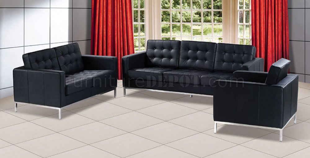 black living room set Black Button Tufted Leather Living Room Set with Metal Legs black living room set