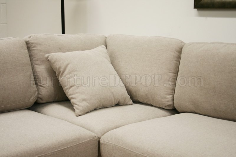 Twill Fabric Modern Sectional Sofa Sterling Cream