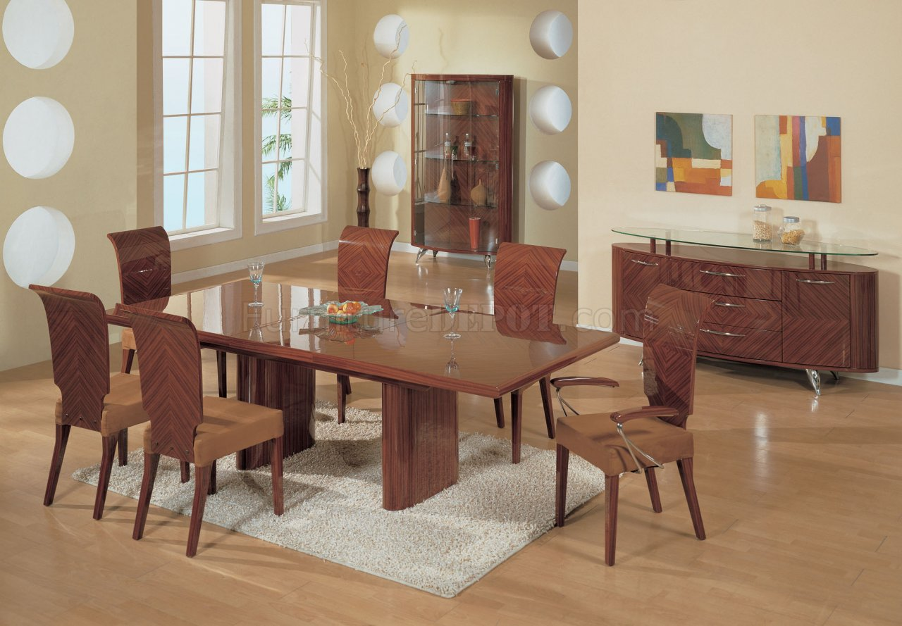 Half Brown High Gloss Finish Contemporary Dining Set