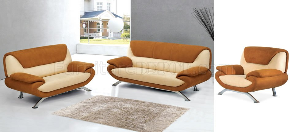 Beige and rust two tone microfiber living room sofa for Living room with rust colored sofa