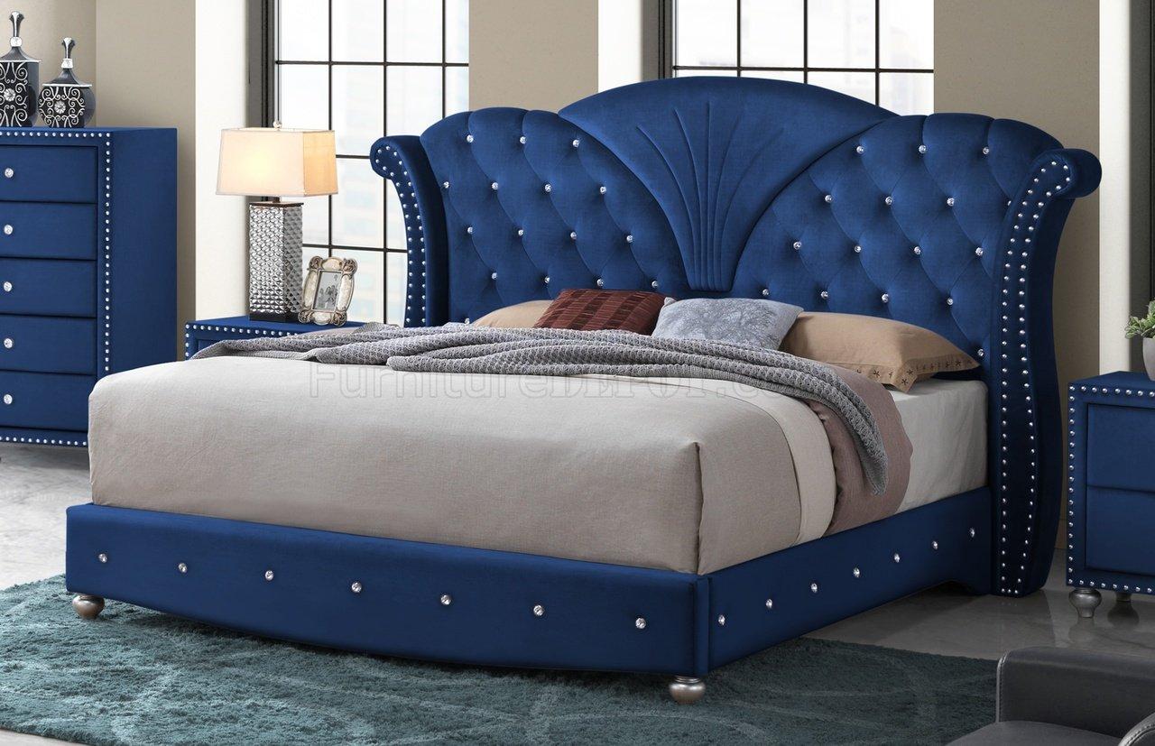 Alana Bedroom Set 5Pc in Blue Velvet Fabric