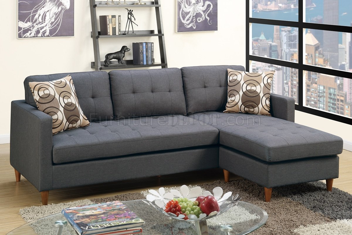 F7094 Reversible Sectional Sofa In Blue Grey Fabric By Boss