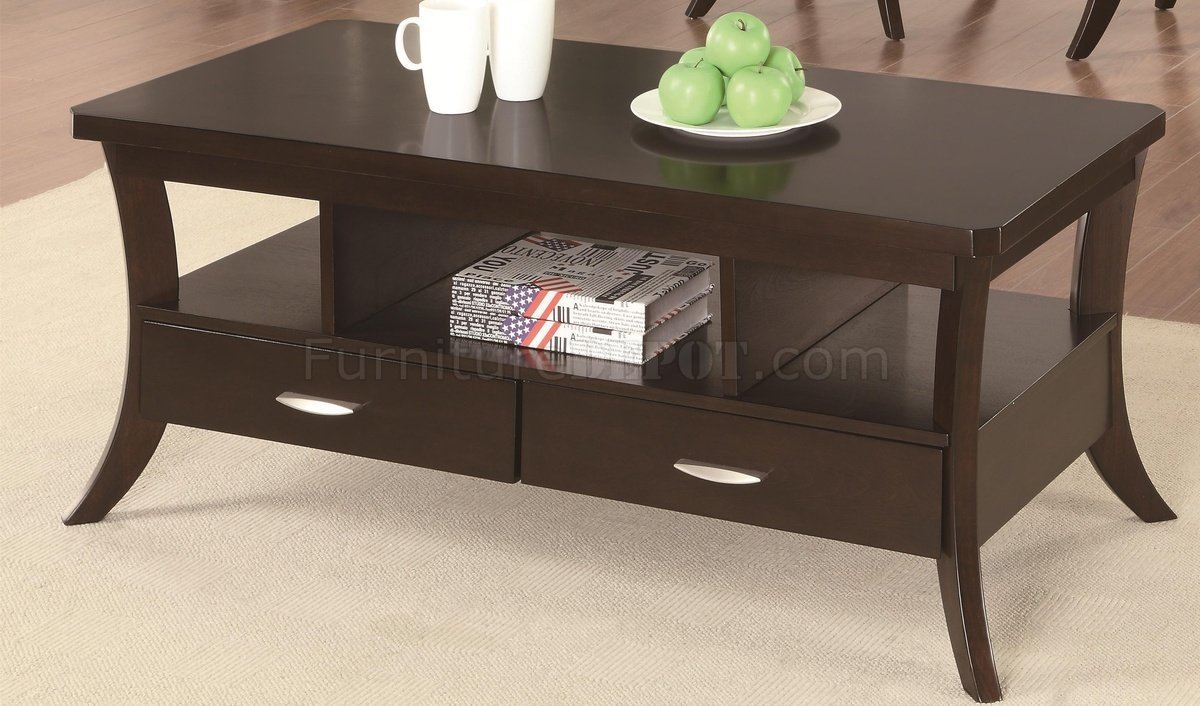 702508 coffee table by coaster in espresso w options Coaster coffee tables