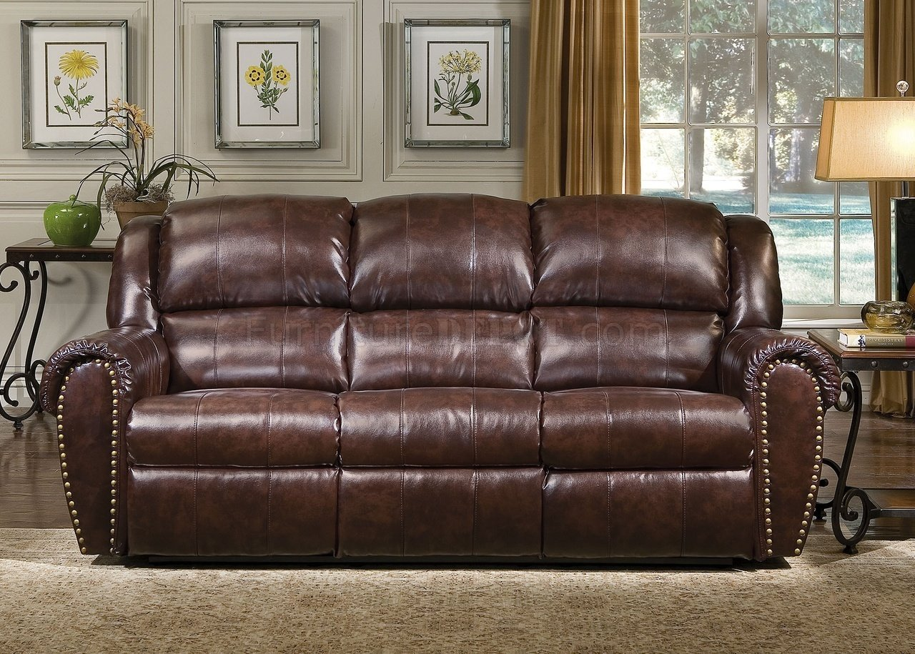 Cognac Brown Bonded Leather Sofa & Chair Set w Reclining Seats
