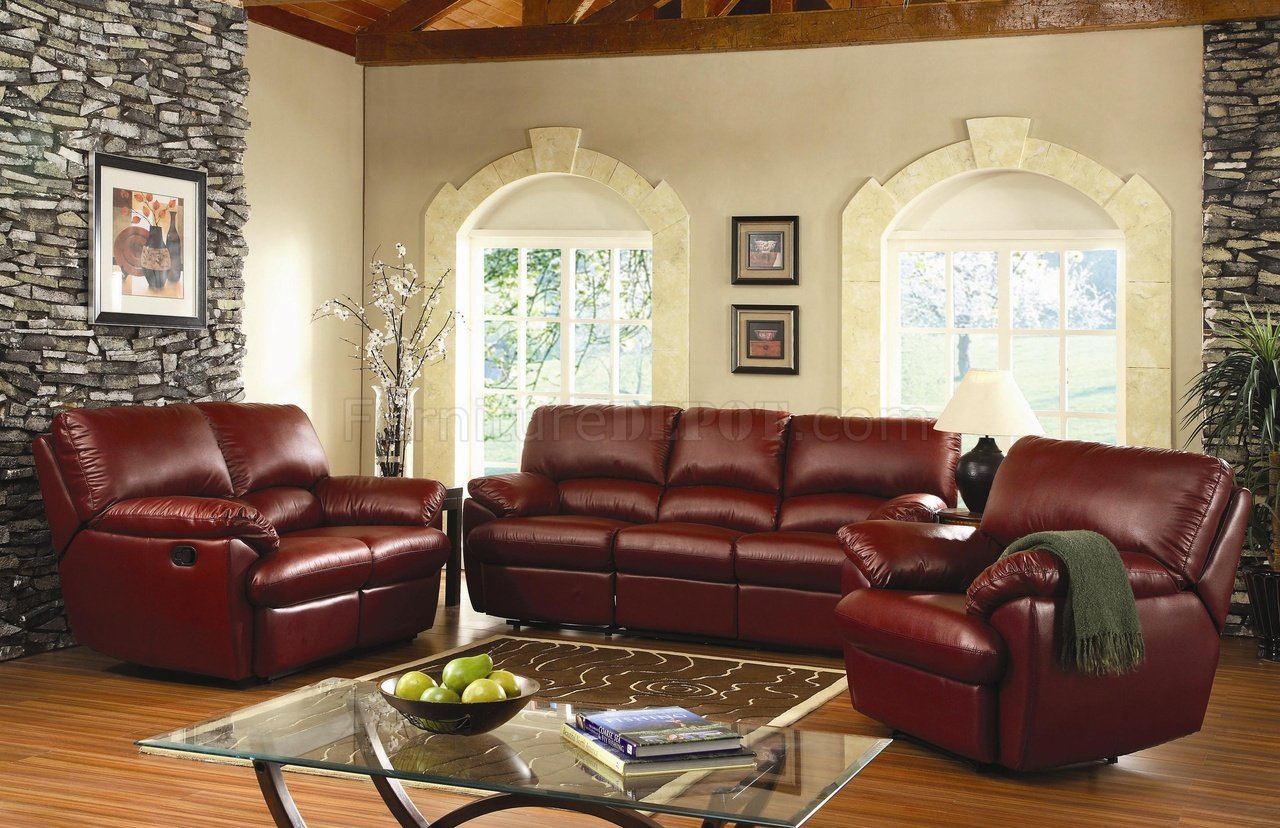 Burgundy Or Black Bonded Leather Reclining Livng Room Sofa