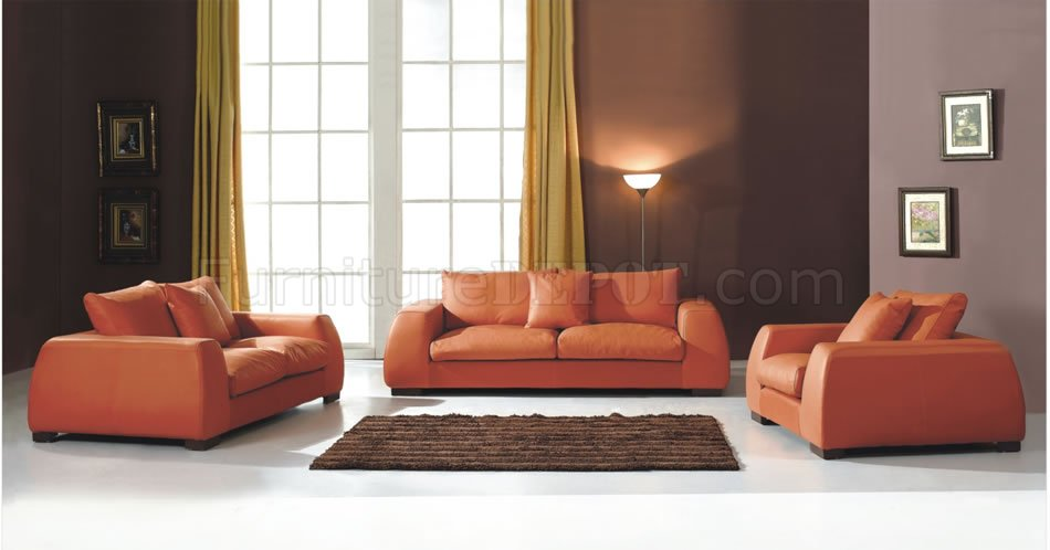 Modern Burnt Orange Living Room Sofa