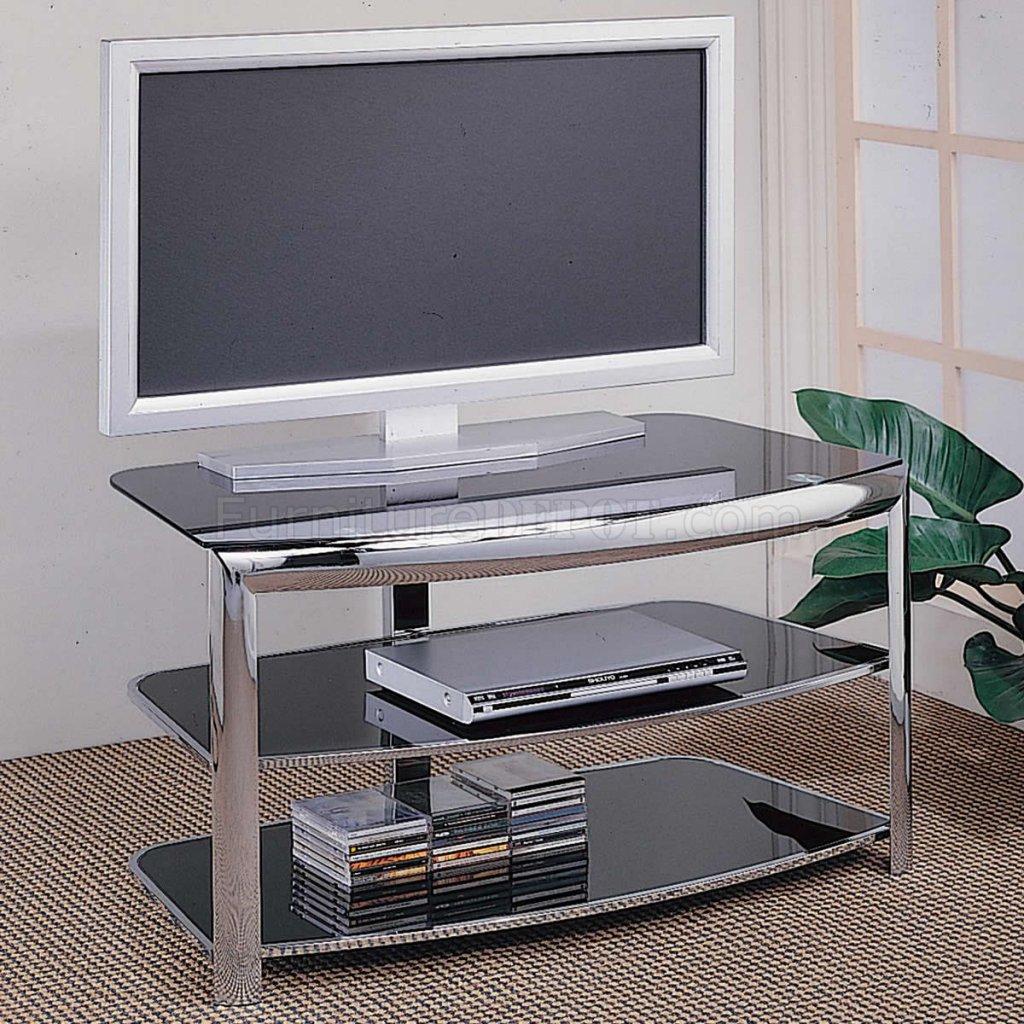 Chrome Metal Frame Amp Black Tempered Glass Modern Tv Stand