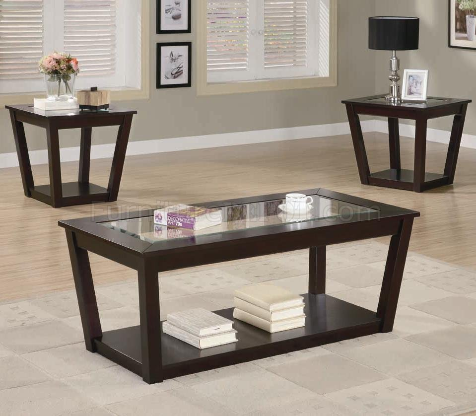 Rich cappuccino finish modern 3pc coffee table set w glass Glass modern coffee table sets
