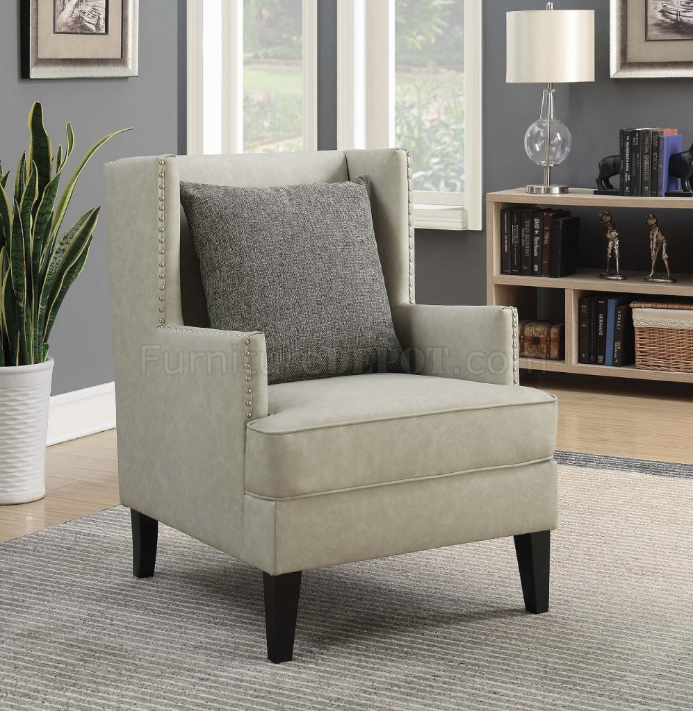 903907 Set Of 2 Accent Chairs In Beige Leatherette By Coaster