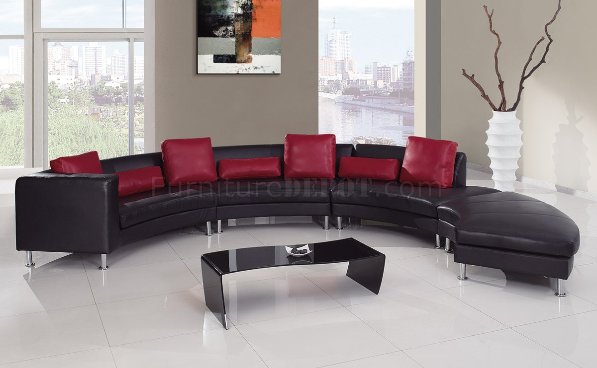 Black Red Ultra Bonded Leather Modern Sectional Sofa