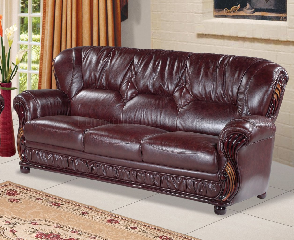 Mina 639 Sofa In Burgundy Bonded Leather W Optional Items