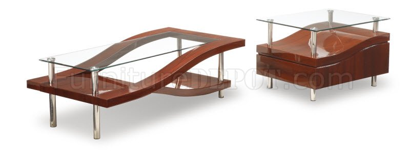 Mahogany Finish Modern Stylish Coffee Table W Glass Top GFDS 759 M