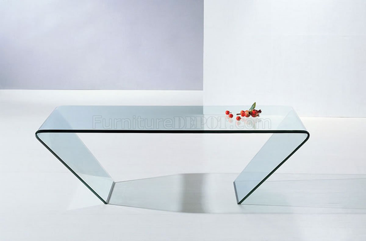 519 clear glass modern coffee table w triangle shape design for Contemporary glass top coffee table