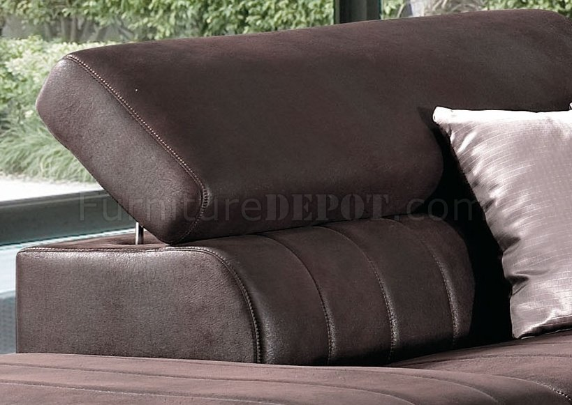 Brown Fabric Modern Sectional Sofa W Adjustable Headrest