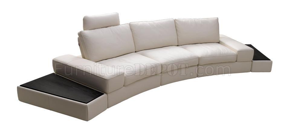 White Full Italian Leather Modern Sectional Sofa wSide Tables