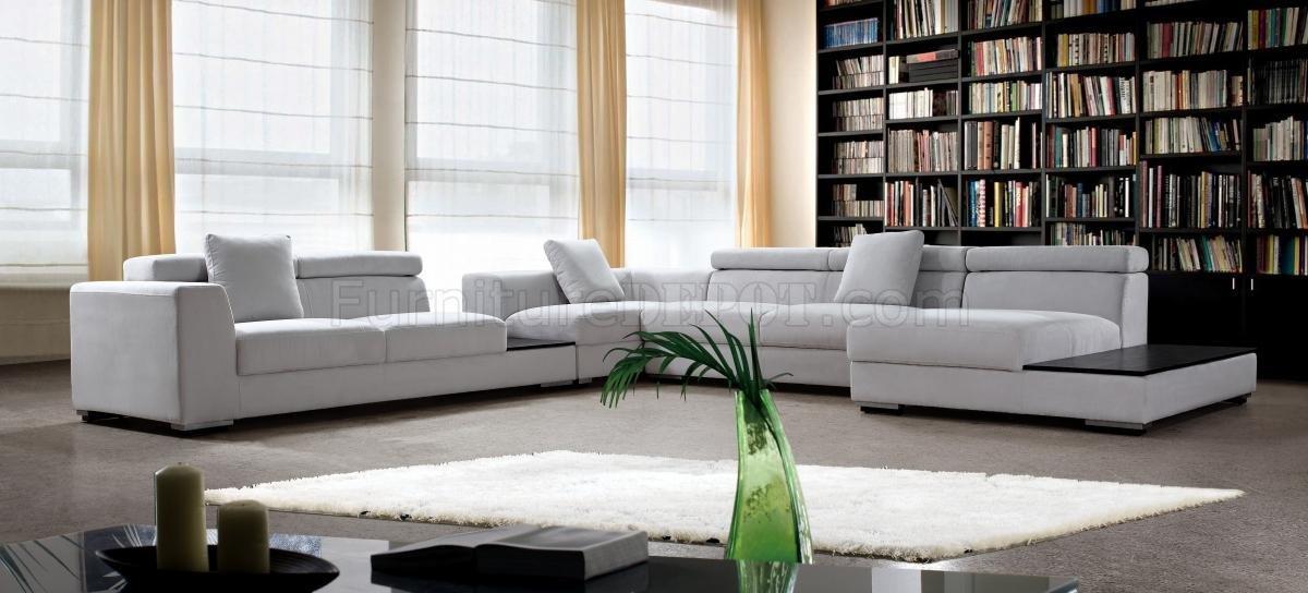 Grey Microfiber Modern Sectional Sofa W Adjustable Headrests