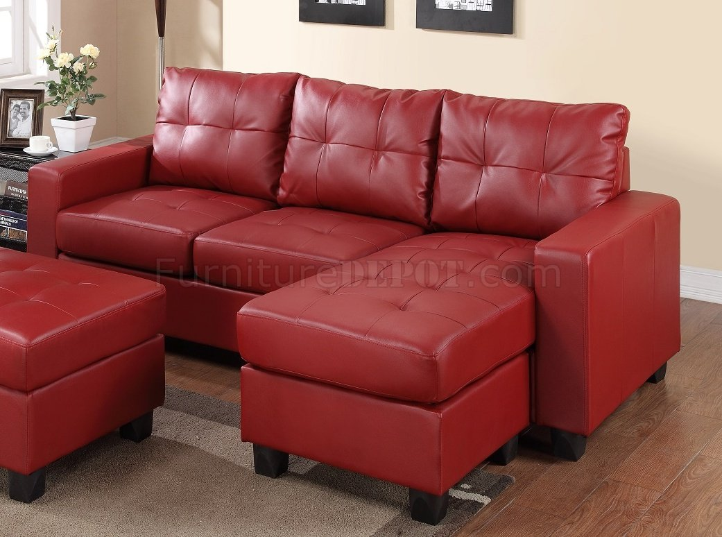 2511 Sectional Sofa Set in Red Bonded Leather Match PU