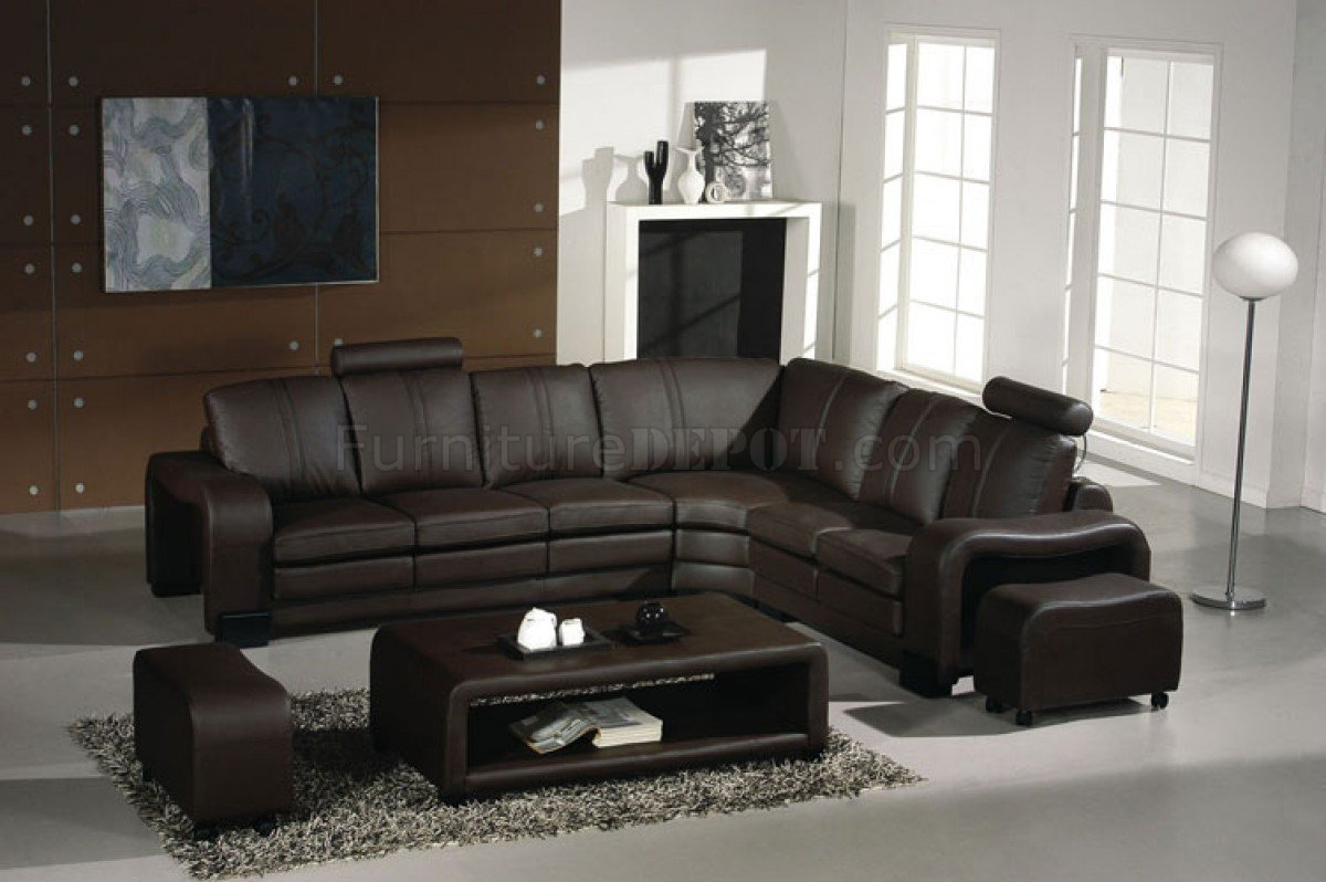 3330 espresso leather modern sectional sofa w coffee table for Canape cuir solde