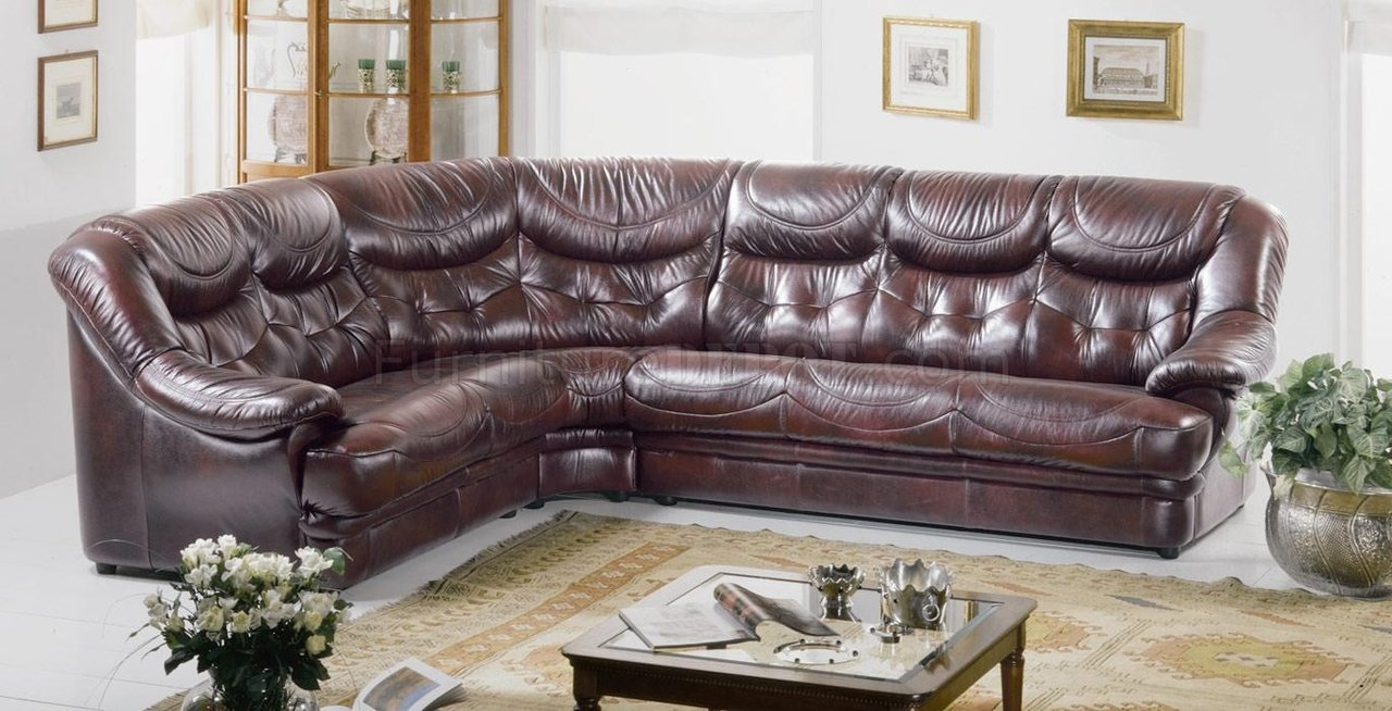 Burgundy Brown Full Top Grain Italian Leather Sectional Sofa Malaga
