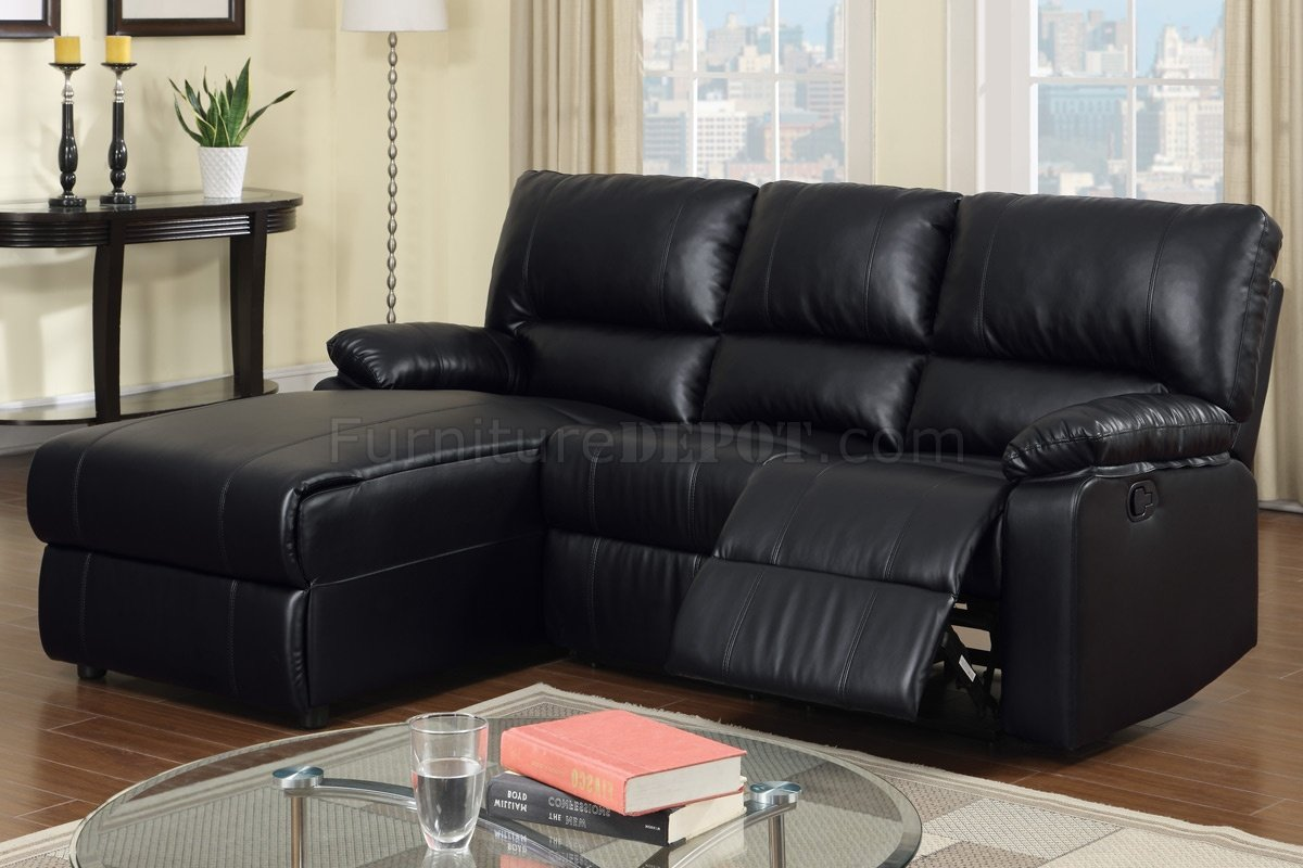 f6629 reclining sectional sofa by boss in black bonded leather. Black Bedroom Furniture Sets. Home Design Ideas