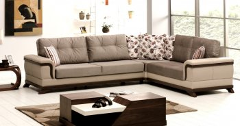 Reviews Vento Sectional Sofa Bed in Light Coffee Microfiber by Rain