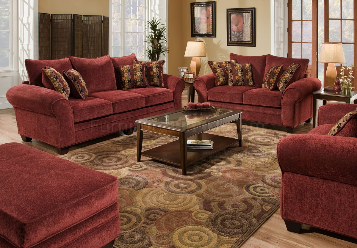 Burgundy fabric sofa loveseat set wgraphic throw pillows