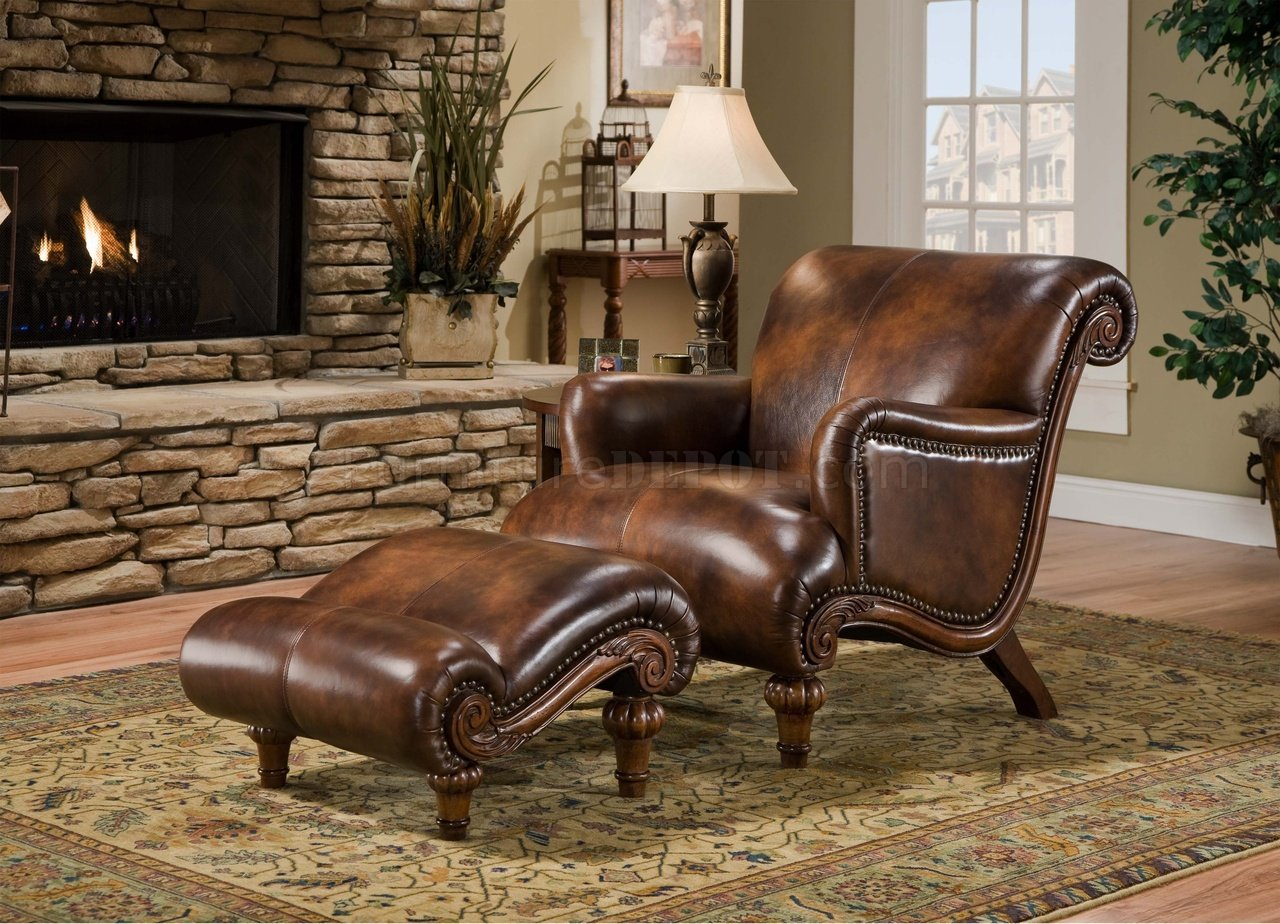 brown top grain leather traditional chair ottoman docc 022 lennox