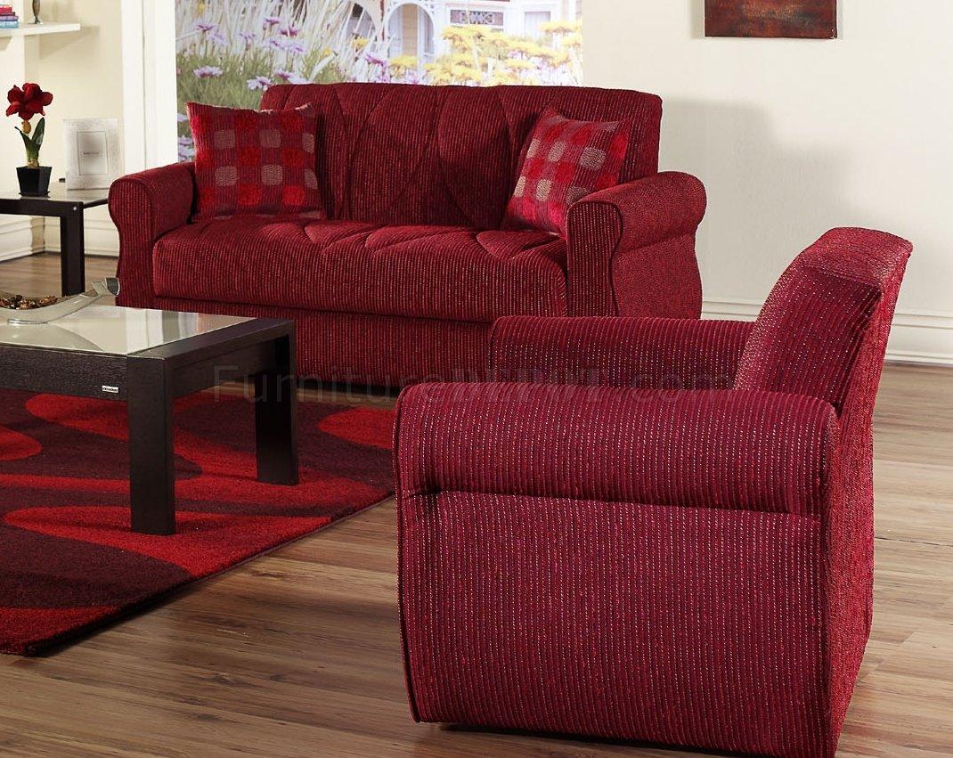 Red Fabric Contemporary Living Room Sleeper Sofa W Storage