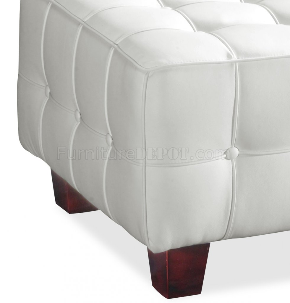 White Leather Modern Living Room Furniture With Tufted Seats