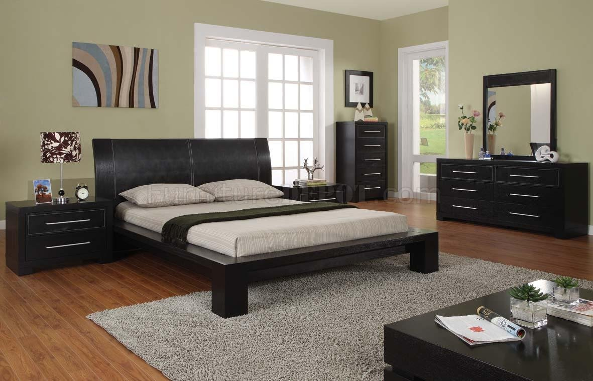 Modern 5 piece bedroom set berlin espresso for Bedroom furniture design