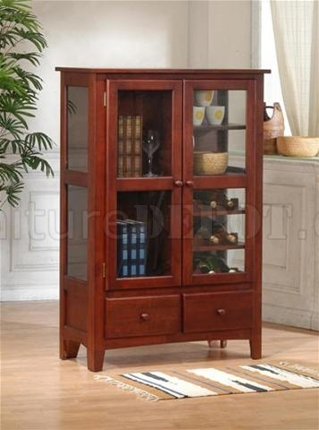 & Cherry Finish Contemporary Wine Rack Curio w/Display Shelves