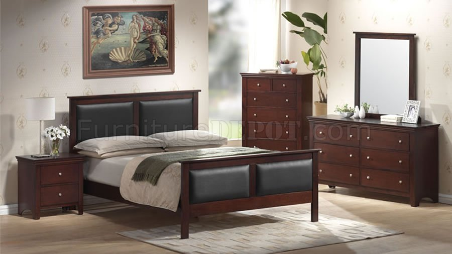 mahogany color contemporary bedroom set with leather