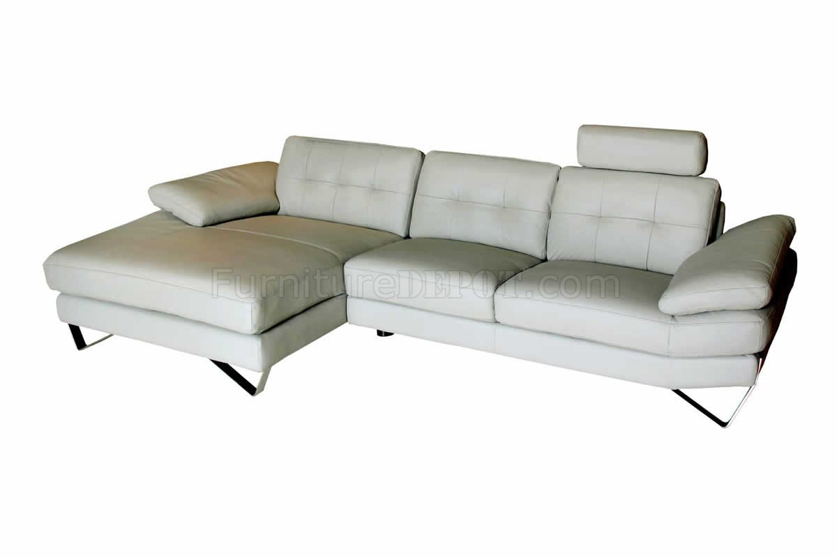 Light grey leather modern sectional sofa w removable headrests for Light gray leather sofa