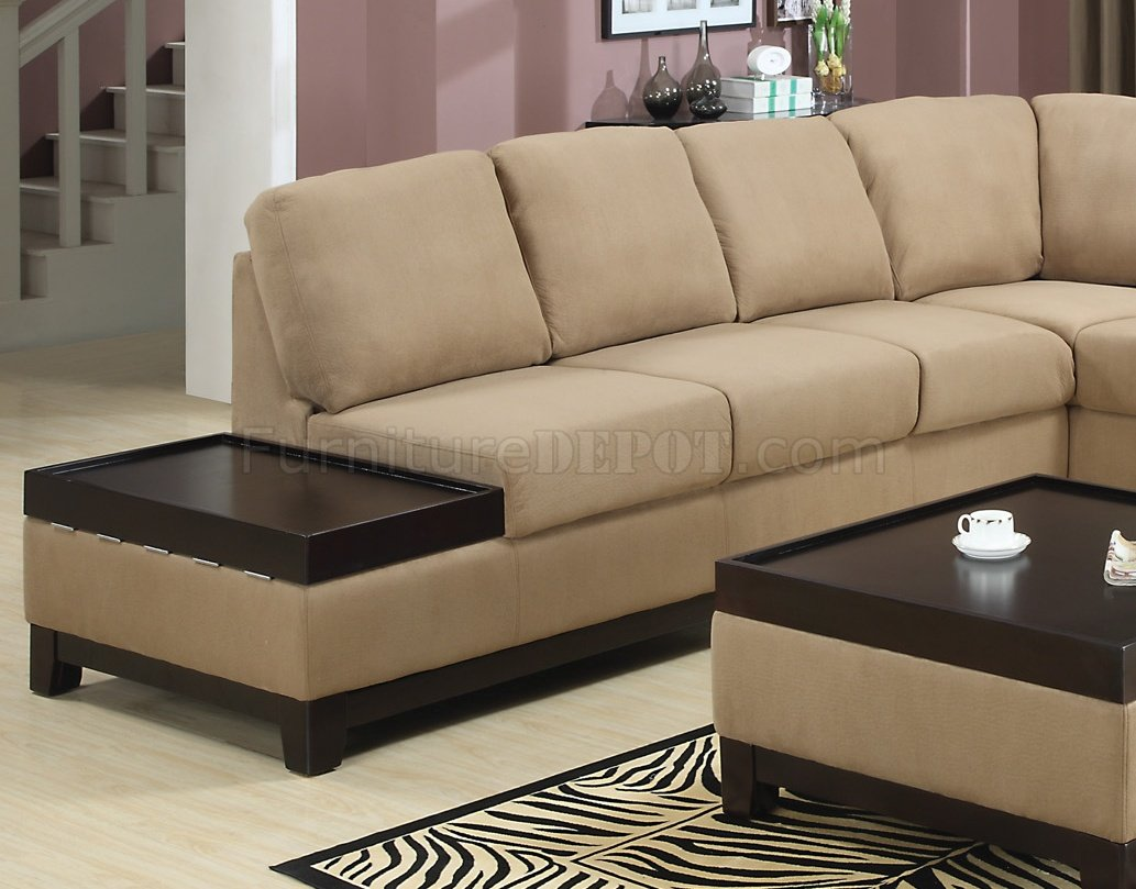 Wood Sectional Sofa ~ Mocha padded suede modern sectional sofa w dark wood trim