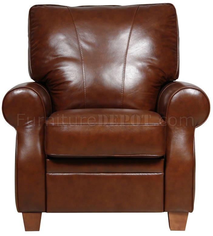 Dark Caramel Full Italian Leather Pushback Recliner Chair