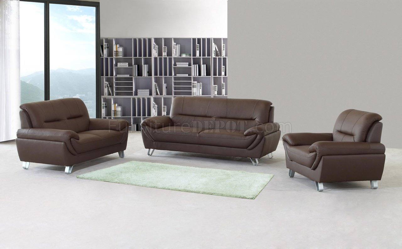 Brown Full Leather Modern Sofa, Loveseat & Chair Set w/Options