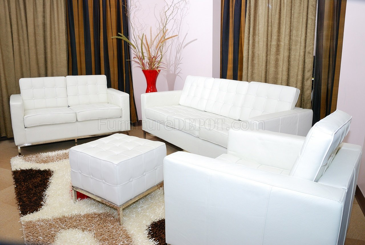 White Button Tufted Full Leather Sofa, Two Chairs & Ottoman Set