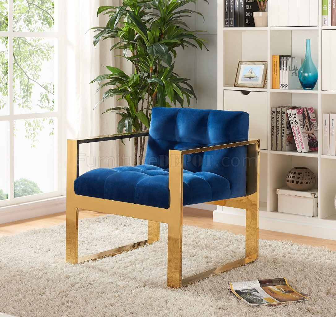 Review Liam Velvet Accent Chair Navy By Meridian Furniture: Mia Accent Chair 514 Navy Blue Velvet By Meridian