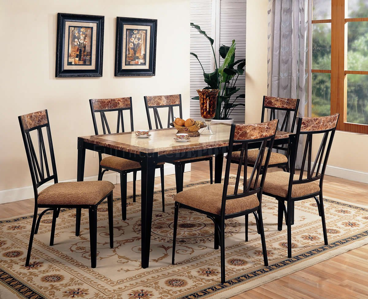 Black Metal Base & Faux Marble Top Modern 5Pc Dining Set