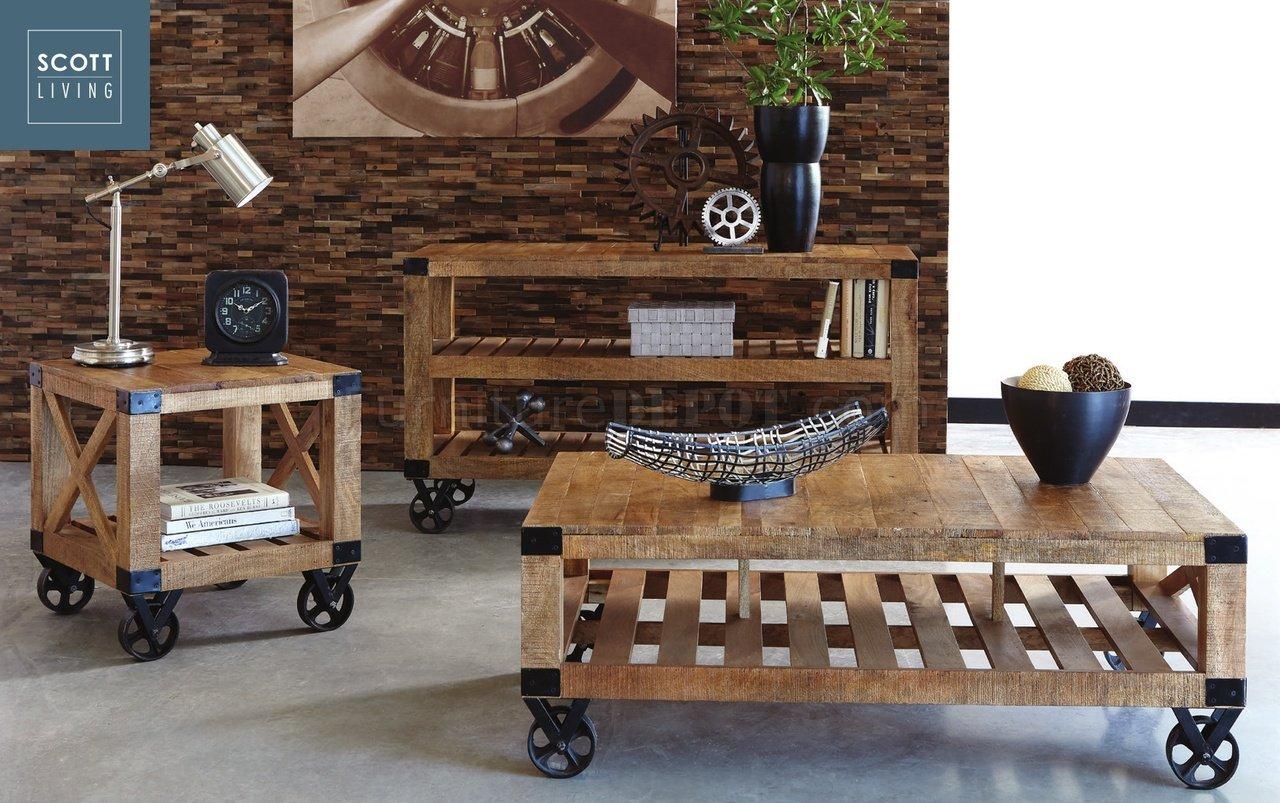 705548 scott living coaster rough mango coffee table for Coaster furniture of america